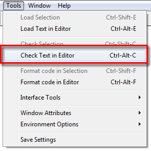 Check Text in Editor